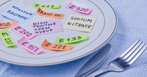 Ein Teller mit mehreren bunten kleinen Zetteln, auf dem viele verschiedene E-Nummern geschrieben stehen. Neben dem Teller liegt eine Gabel und ein Messer.