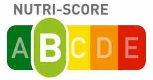 Abgebildet ist der farbige Nutri-Score mit einer Buchstabenskala von A bis E
