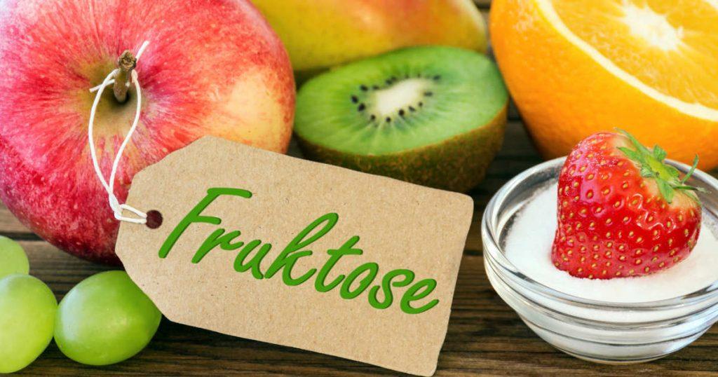 Früchte wie Apfel, Trauben, Kiwi, Orange liegen nah beieinander. In einem Schälchen mit weißem, isoliertem Zucker liegt eine Erdbeere. Ein Schild mit der Aufschrift Fruktose hängt am Stil des Apfels.