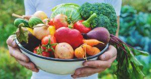 Ein Mann hält eine Schüssel voll mit verschiedenen Gemüsesorten in beiden Händen vor seinen Körper.